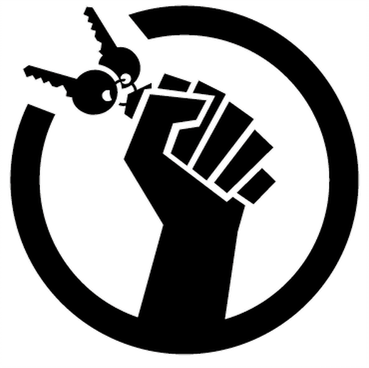 raised fist holding key chain inside a circle